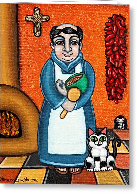 Catholic Art Greeting Cards - San Pascual and Felix Greeting Card by Victoria De Almeida