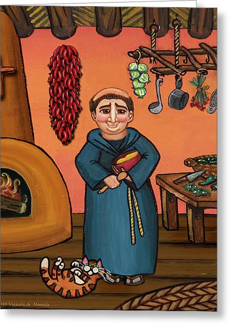 New Mexican Greeting Cards - San Pascual and Vigas Greeting Card by Victoria De Almeida