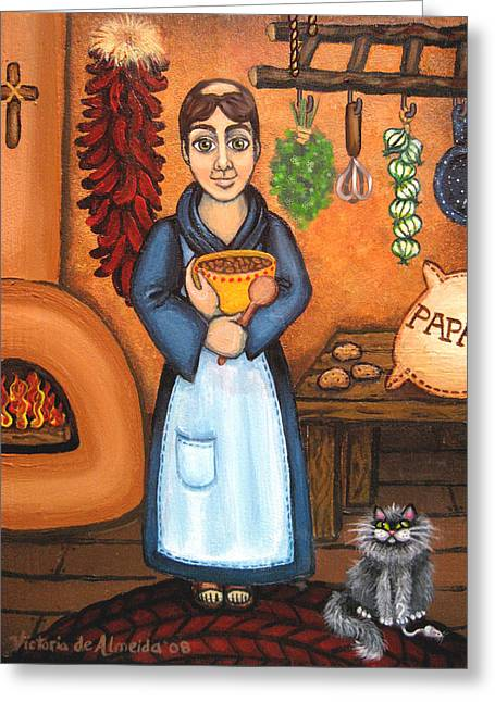 Saint Of Cooks Greeting Cards - San Pascual BAD KITTY Greeting Card by Victoria De Almeida