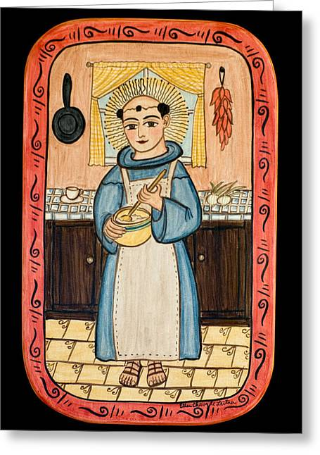 Retablos Greeting Cards - San Pascual Greeting Card by Ellen Chavez de Leitner