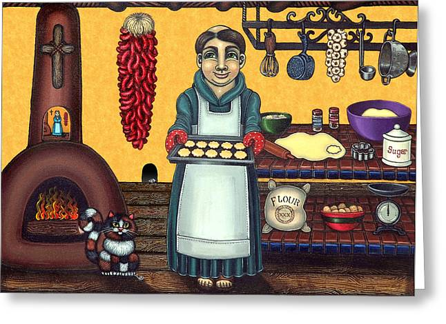 Priests Greeting Cards - San Pascual Making Biscochitos Greeting Card by Victoria De Almeida