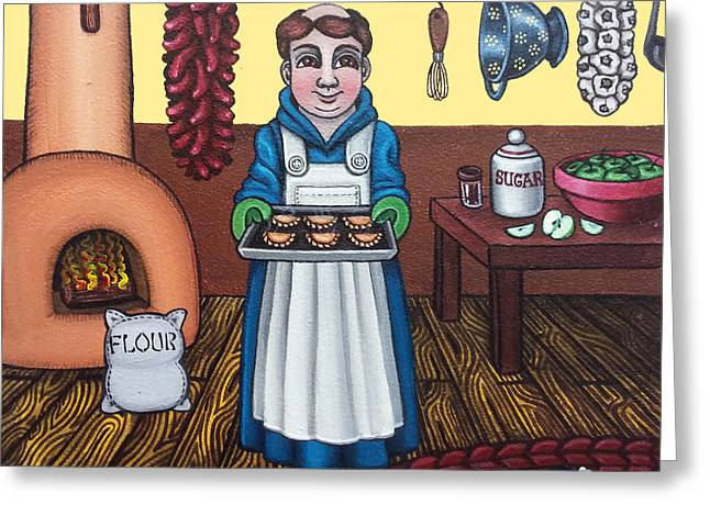 Catholic Art Greeting Cards - San Pascuals Empanaditas Greeting Card by Victoria De Almeida