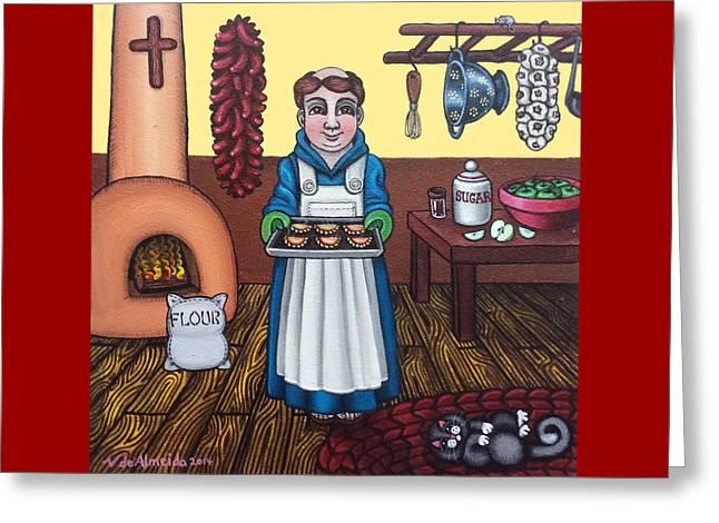 Saint Of Kitchen Greeting Cards - San Pascuals Empanaditas Greeting Card by Victoria De Almeida