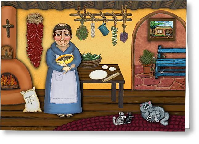 Retablos Greeting Cards - San Pascuals Kitchen 2 Greeting Card by Victoria De Almeida