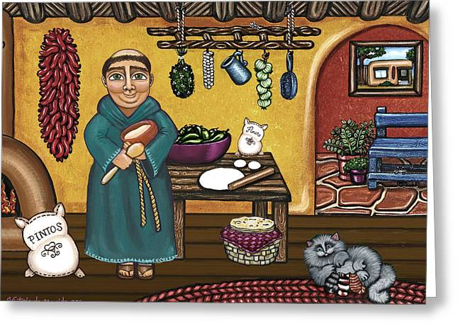 Des Paintings Greeting Cards - San Pascuals Kitchen Greeting Card by Victoria De Almeida