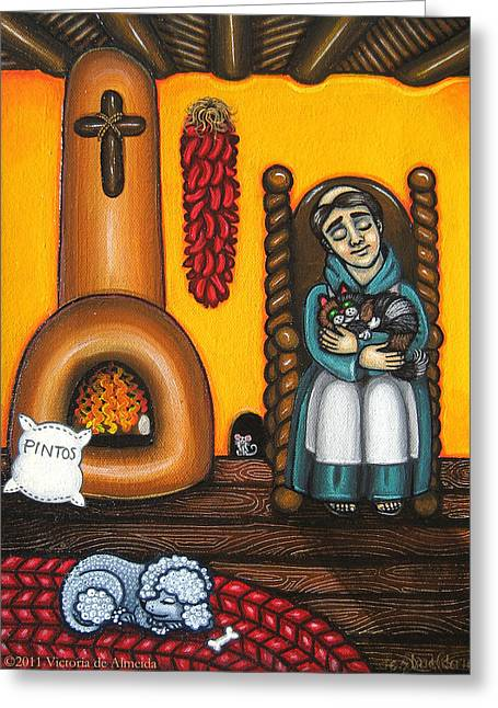 Retablos Greeting Cards - San Pascuals Nap Greeting Card by Victoria De Almeida