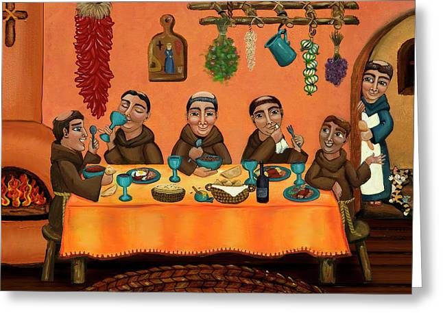 Hispanic Artists Greeting Cards - San Pascuals Table Greeting Card by Victoria De Almeida