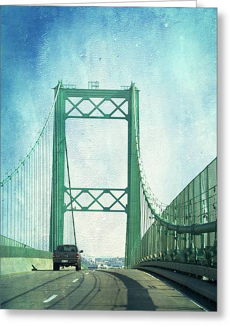Old Roadway Greeting Cards - San Pedro CA Road Bridge Textured Greeting Card by Thomas Woolworth