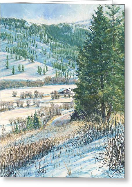 Fir Trees Pastels Greeting Cards - San Poil Valley  Greeting Card by Nick Payne
