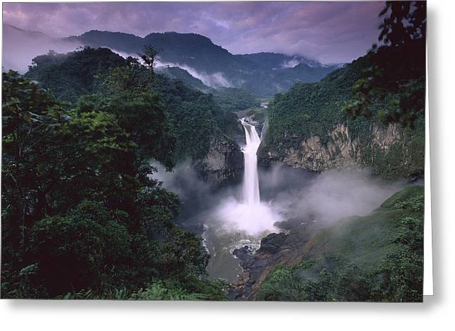 La Coca Falls Greeting Cards - San Rafael Falls On The Quijos River Greeting Card by Pete Oxford
