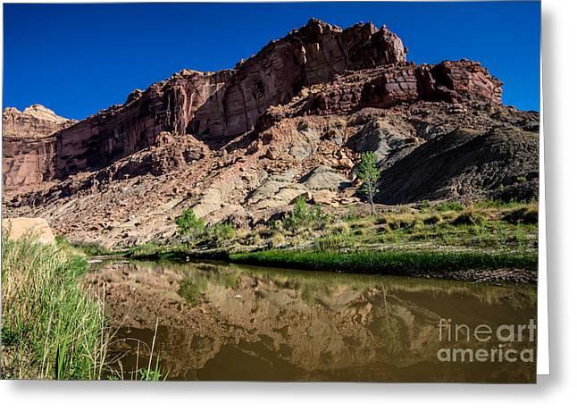 San Rafael Swell Greeting Cards - San Rafael River Reflections - Utah Greeting Card by Gary Whitton