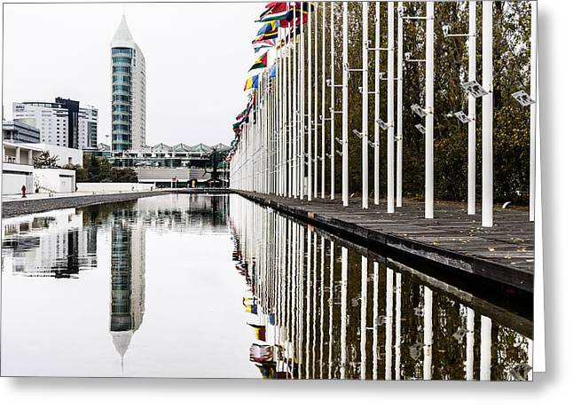 Blue Glass World Greeting Cards - San Gabriel Tower Greeting Card by Marco Oliveira