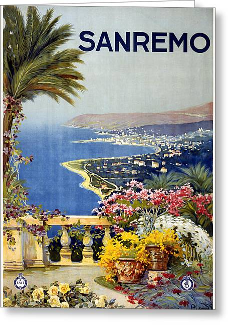 San Remo Greeting Cards - San Remo Italy Greeting Card by Nomad Art And  Design