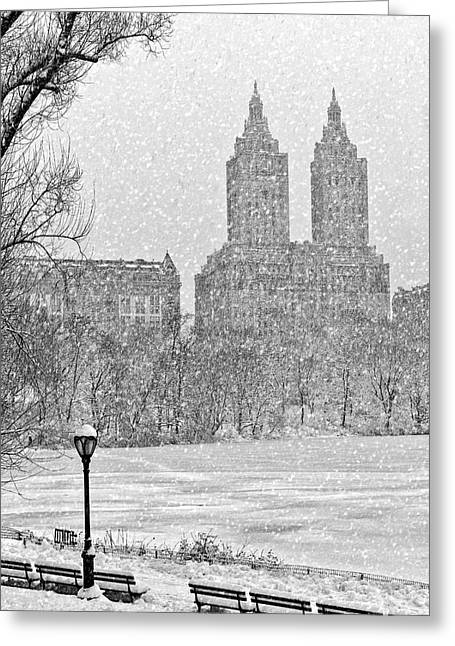 Central Park West Greeting Cards - San Remo Towers Snow Greeting Card by Susan Candelario