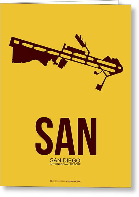 Town Mixed Media Greeting Cards - SAN San Diego Airport Poster 1 Greeting Card by Naxart Studio