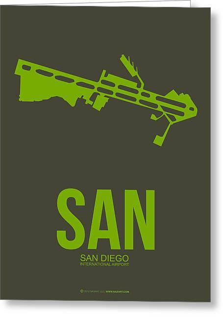San Diego Greeting Cards - SAN San Diego Airport Poster 12 Greeting Card by Naxart Studio