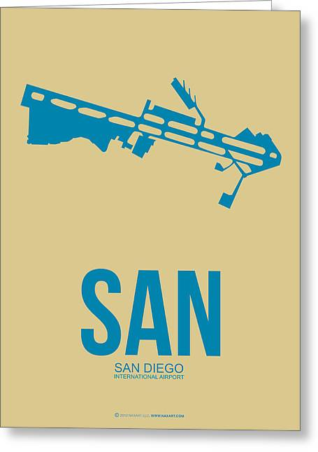 Town Mixed Media Greeting Cards - SAN San Diego Airport Poster 3 Greeting Card by Naxart Studio