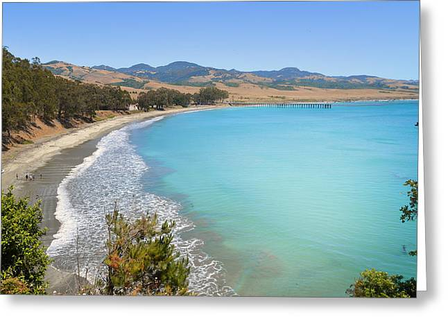Cambria Greeting Cards - San Simeon Bay Greeting Card by Lynn Bauer