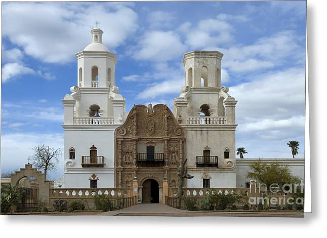 Catholic Mission Greeting Cards - San Xavier del Bac Mission Facade Greeting Card by Bob Christopher
