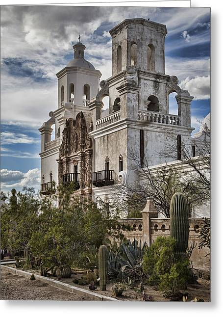 The Church Greeting Cards - San Xavier del Bac Greeting Card by Stephen Stookey