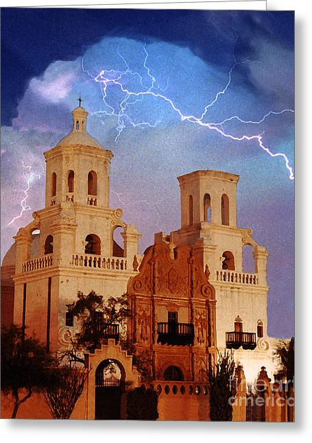 San Xavier Greeting Card by Jeanette Brown