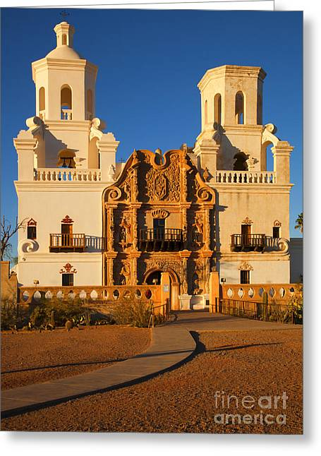 Franciscans Greeting Cards - San Xavier Mission Greeting Card by Mike  Dawson
