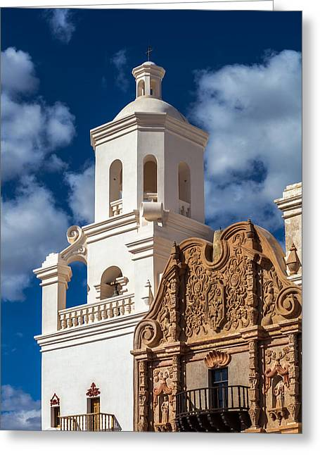 Francis Greeting Cards - San Xavier Tower and Artwork Greeting Card by Ed Gleichman
