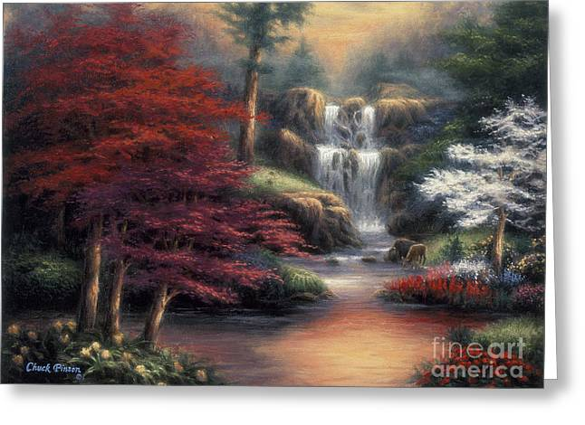 Waterfall Greeting Cards - Sanctuary Greeting Card by Chuck Pinson