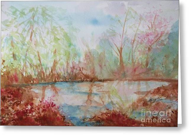 Reflections Of Sky In Water Greeting Cards - Sanctuary Greeting Card by Ellen Levinson