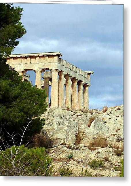 Greek Ruins Greeting Cards - Sanctuary of Aphaia 2 Greeting Card by Ellen Henneke
