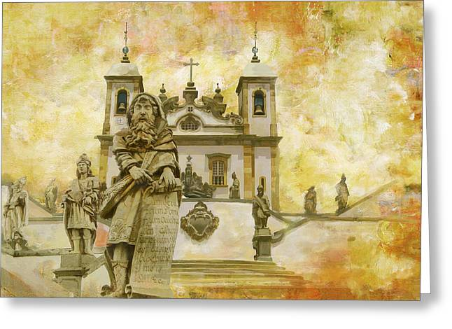 Mini Paintings Greeting Cards - Sanctuary of Bom Jesus do Congonhas  Greeting Card by Catf