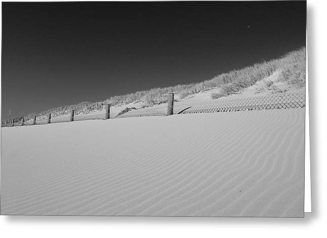 Sand Fences Mixed Media Greeting Cards - Sand and moon B W Greeting Card by Gary Lester