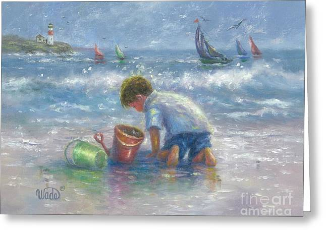 Sailboat Images Paintings Greeting Cards - Sand and Sailboats Greeting Card by Vickie Wade