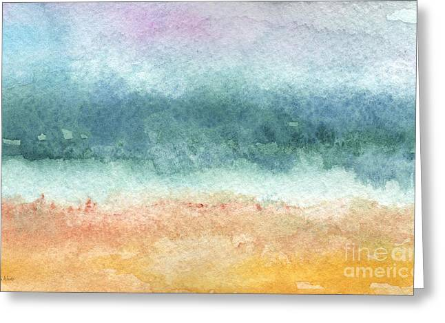 Grey Clouds Greeting Cards - Sand and Sea Greeting Card by Linda Woods