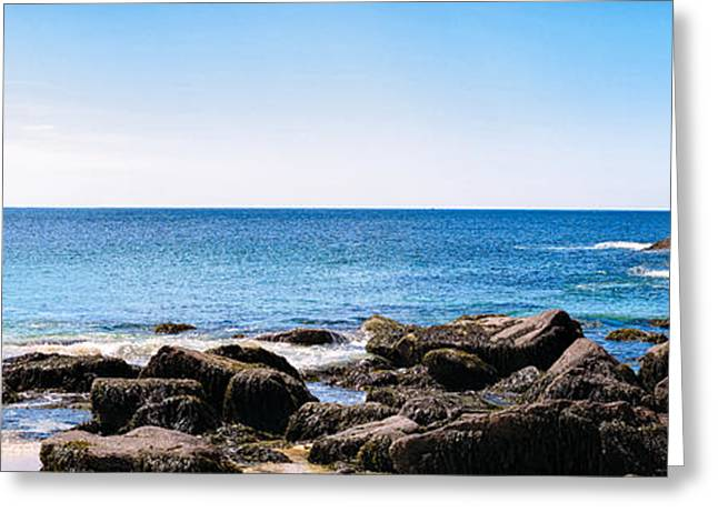 Maine Beach Greeting Cards - Sand Beach Rocky Shore   Greeting Card by Lars Lentz
