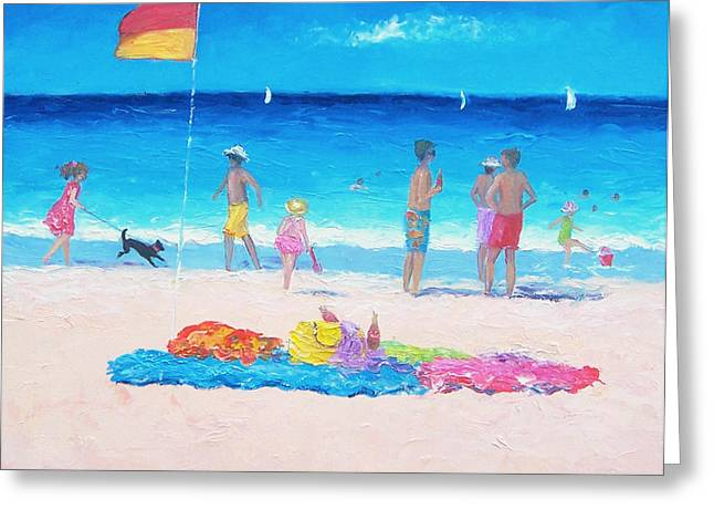 Dog Walking Greeting Cards - Sand between the toes Greeting Card by Jan Matson