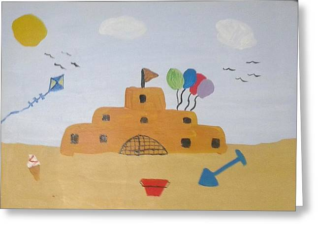 Sand Castles Mixed Media Greeting Cards - Sand castle Greeting Card by Julie Dunkley