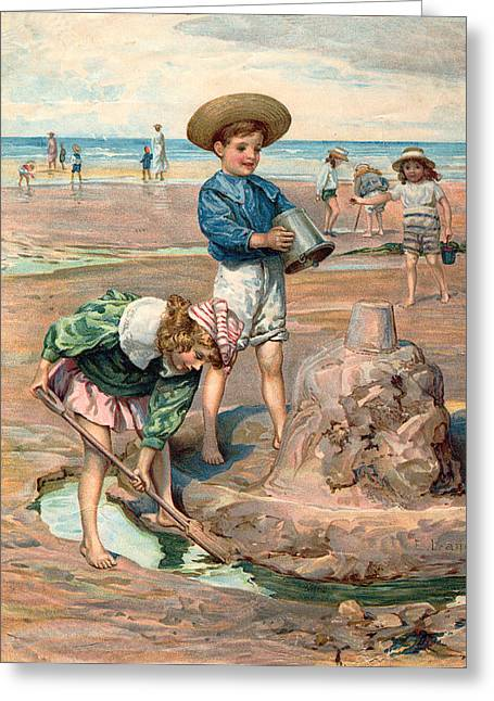 Little Boy Greeting Cards - Sand Castles At The Beach Greeting Card by Unknown