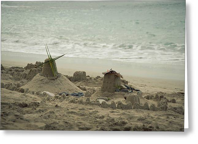 Sand Castles Greeting Cards - Sand Castles of the past..  Greeting Card by Zina Zinchik