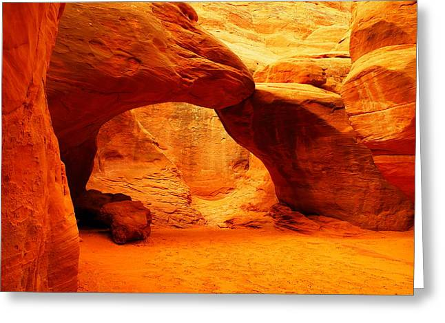 Geology Photographs Greeting Cards - Sand Dune Arch Greeting Card by Jeff  Swan