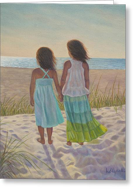 Sand Dunes Paintings Greeting Cards - Sand Dune Stroll Greeting Card by Holly Kallie