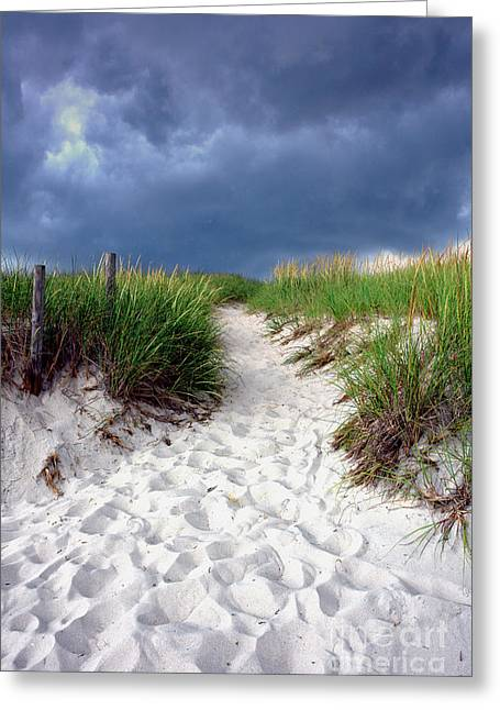 Stormy Clouds Greeting Cards - Sand Dune under Storm Greeting Card by Olivier Le Queinec
