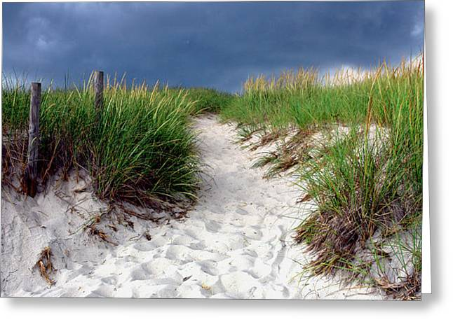 Sand Dune under Storm Greeting Card by Olivier Le Queinec
