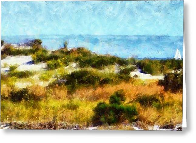 Sea Grasses On Sand Dunes Greeting Cards - Sand dunes Assateague Island Greeting Card by Janine Riley
