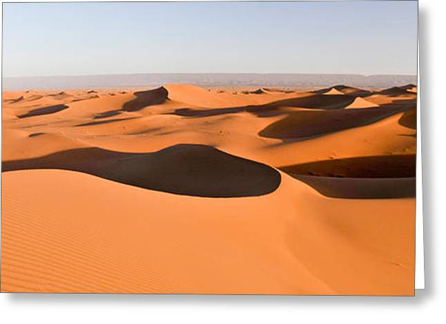 Sahara Sunlight Greeting Cards - Sand Dunes In A Desert, Erg Chigaga Greeting Card by Panoramic Images