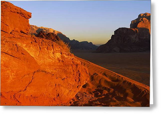 Jordan Hill Greeting Cards - Sand Dunes In A Desert, Jebel Um Greeting Card by Panoramic Images