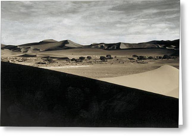 Overcast Day Greeting Cards - Sand Dunes In A Desert, Namib Desert Greeting Card by Panoramic Images