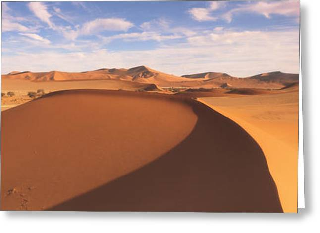 Sand Patterns Greeting Cards - Sand Dunes In An Arid Landscape, Namib Greeting Card by Panoramic Images