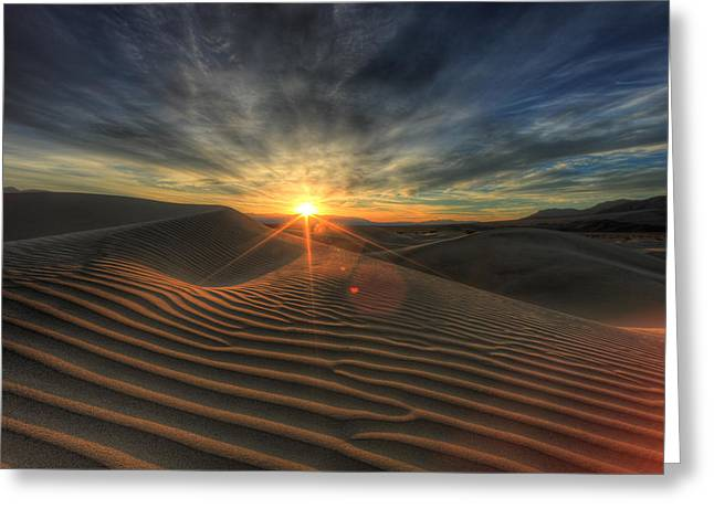 Sand Dunes Pyrography Greeting Cards - Sand Dunes in Death Valley  Greeting Card by Katrina Brown