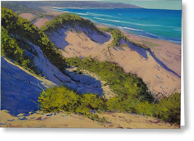 Sand Dunes Paintings Greeting Cards - Sand Dunes Oil Painting Greeting Card by Graham Gercken